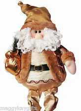Large Sitting Santa Dangly Legs 70cm Gold Novelty Christmas Decoration Ornament