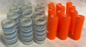 24 Lot Hook Loop Brush Hair Rollers Curlers Blue Striped And Orange 2 Sizes