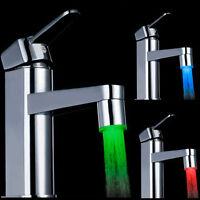 7 Farben Licht Farbwechsel LED Wasserhahn Wasser Armatur Aufsatz