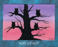 Original ACEO - Owls - miniature acrylic painting, not framed