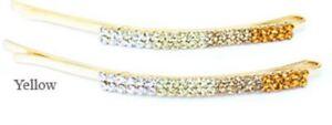 A pair of crystal hair pins -  graduated shades of blond