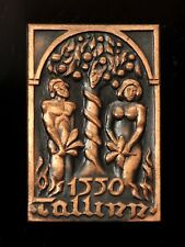 Adam and Eve Tallinn Old Town 1550 Vintage Estonian Copper Pin Badge