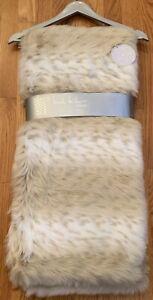 "NICOLE MILLER Snow Leopard Faux Fur Throw Blanket Tan Cream Plush (50"" x 60"")"