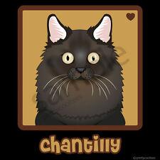 Chantilly Cat Cartoon T-Shirt, Men Women's Youth Tank Short Long Sleeve