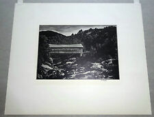 "1950s American Woodcut Print ""Bridge over Mad River"" by Asa Cheffetz  (Hin)"