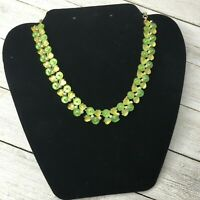 Beautiful Vintage Retro Gold Tone Yellow Green Floral Leaf Necklace
