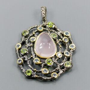 Fine Art Rose Quartz Pendant Silver 925 Sterling  /NP13976