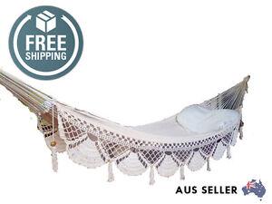 WHITE HAMMOCK with Crochet Fringe Handmade cotton bed crochet Macrame Hammock