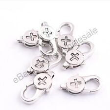 Tibetan silver Cross Charms Lobster Clasps 23x12MM 3136