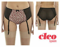 Cleo Della Suspender Brief Knickers Pant * Pink Leopard 9113 * New Lingerie
