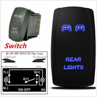 12V Car Auto Rocker Switch Backlit Rear lights Blue LED 5Pins 20A On-Off Switch