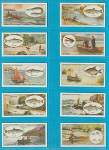 Mitchell cigarette cards - ANGLING - Full mint condition set.
