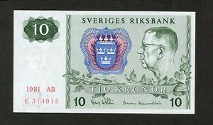 SWEDEN 10 KRONOR 1981 AB PICK # 52e UNC LESS.