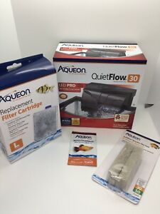 DS LM Aqueon LED Pro Power Filter QuietFlow 30 (30 Gal Aquariums) W/ Extras!!