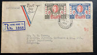 1946 Hong Kong First Day cover FDC Victory Issue King George VI Locally Used