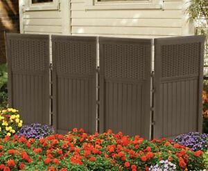 Suncast FSW4423 Backyard and Garden Patio Rust-Resistant Screen Gate/Fence, Java