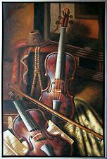 Henri Gautier *1955: Ölmalerei Leinwand, 90 x 60 cm, Stilleben mit zwei Geigen