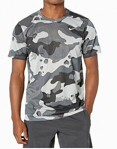 Nike Mens Shirt Gray Size 2XL Activewear Short Sleeve Camo Dri-Fit $25 #131