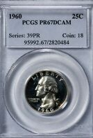 1960 25C Washington Quarter PCGS PR67DCAM Deep Cameo Proof!