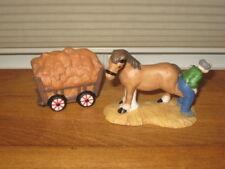2 Pc Porcelain Village Loaded Haywagon & Man Putting Shoe On Horse