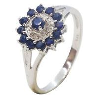 9ct White Gold Fancy Round Dark Blue Sapphire Cluster Diamond Halo Dress Ring