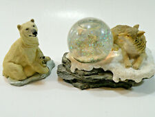 Two Small Vintage Resin Wolf Snow Globe With Pups and Polar Bear With Baby