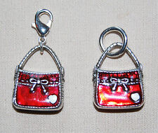 New Brighton red 'Allison' handbag charm on jump ring or clip-on Free Shipping !