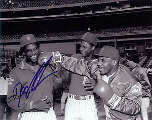 NY Mets Doc Gooden autographed B/W photo with Darryl Strawberry & Mike Tyson
