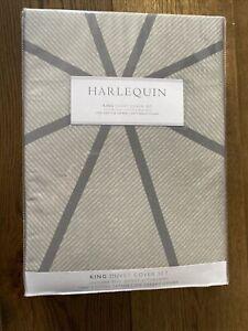 BNIB Harlequin Axal King Duvet Cover Set In Slate Grey