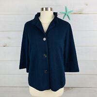 J McLaughlin Sz S Knit Cardigan Sweater Blazer Textured Navy Blue Four Button