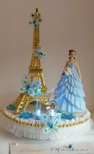 QUINCEANERA SWEET 15 16 CAKE TOPPER ILLUMINATED CENTERPIECE EIFFEL TOWER PARIS
