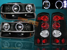 99 00 01 02 SILVERADO HALO PROJECTOR HEADLIGHTS BLACK&BUMPER LIGHTS& TAIL LIGHTS