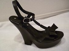 Celine Leather Black Wedges strappy ankle wrap Shoes bow $650 Sz 38.5/8.5/8