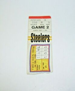 Steelers Game Ticket Stub 1991 Sept 1 Sunday