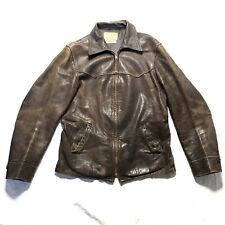 1930s Distressed Goatskin Leather Car Coat Field & Stream Indiana Jones L