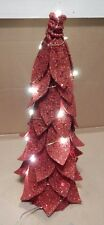 "Led Lighted Faux Birch Cone Christmas Tree 16"" x 6"" Red Glitter Battery 147P"