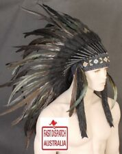 INDIAN HEADDRESS BLACK COCK FEATHERS....MAGNIFICENT WITH FREE FREIGHT!!!!!