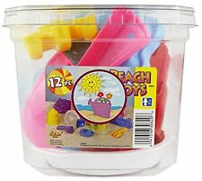 Click N Play 12 Piece Sand Beach Toys In Clear Plastic Container