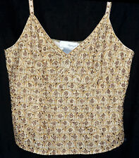 Spiegel Beige Silk Shell Top Covered With Gold Beads & Sequined Flowers Sz 12