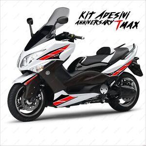 Adhésifs Anniversary Autocollant Compatible Yamaha Tmax T-Max 08 11 Noir Rouge