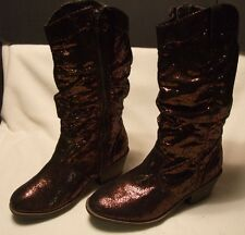 JUSTICE COPPER COWBOY WESTERN BROWN SEQUIN BOOTS   SHOES 5 NICE! $100