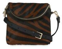 Whistles Victoria Animal Print Leather Mini Cross Body Bag - Brown / Black - New