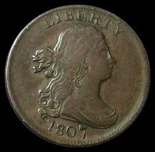 1807 COPPER DRAPED BUST HALF CENT COIN VERY FINE+ CONDITION