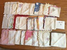 27 Charming Vintage Hankies Handkerchiefs Embroidered Corners Crochet Edges ++