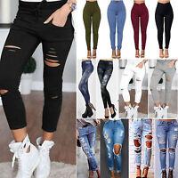 femmes skinny taille haute déchiré Jeans extensible Pantalon Jeggings