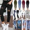 Women's Leggings Ladies Stretch Faded Ripped Slim Fit Skinny Denim Jeans Pants