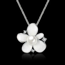 Elegant 18k 18CT White Gold Filled GF Flora CZ Pendant Necklace N-A733 Gift