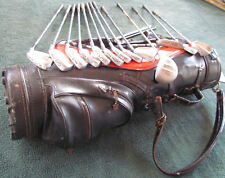 Burton Leather Golf Bag with 10 Wilson, 1 Pacer, 1 Royal, 1 Par Clubs, Used