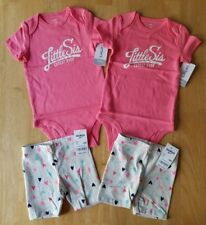 Identical Twins Baby Girls Clothes, 2 Outfit Sets, Size 12 Months, Carter's +