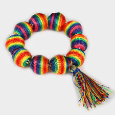 Multi Color Threaded Ball Goldtone Stretchable Fashion Bracelet